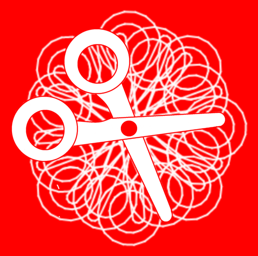 Red background with a white logo of scissors in the center and additional white rotated outlines of scissors behind it