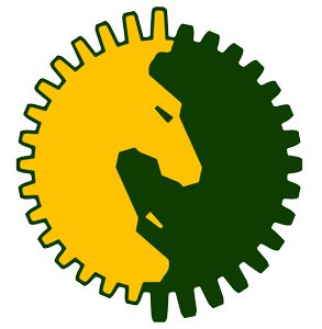 A circular gear shaped yellow and green yin and yang logo of two horse heads